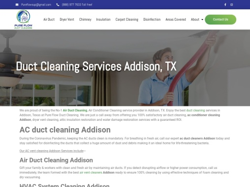 Professional Air Duct Cleaning Services In Addison, Texas