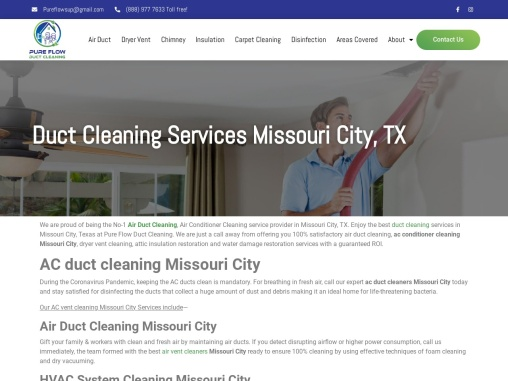 Duct Cleaning Services Missouri City, TX