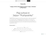 PUSHPVATIKA| Best Playgroup School in Jaipur | Admission for Play School