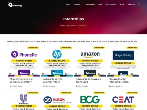 Internships of Top Tier Companies at  Qcademics