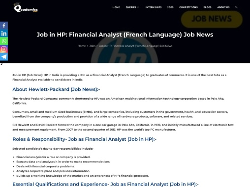 Apply for FInalcial Analyst At HP