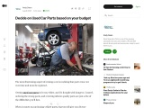 Decide on Used Car Parts based on your budget