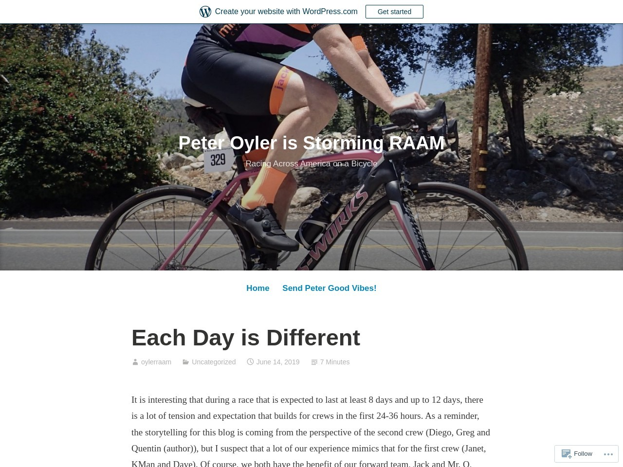 Each Day is Different – Peter Oyler is Storming RAAM