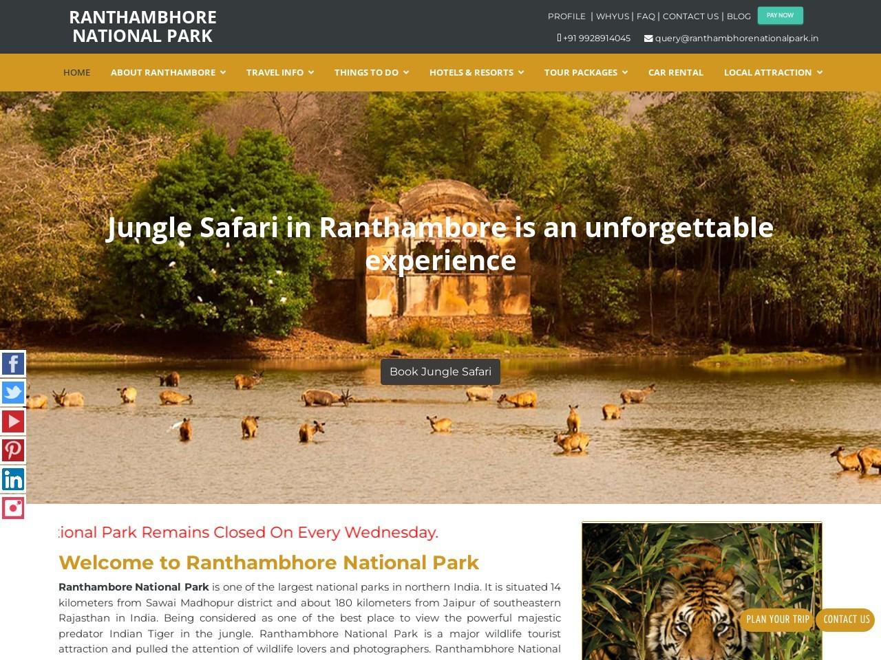 Ranthambore safari online booking | Ranthambore jeep safari booking online
