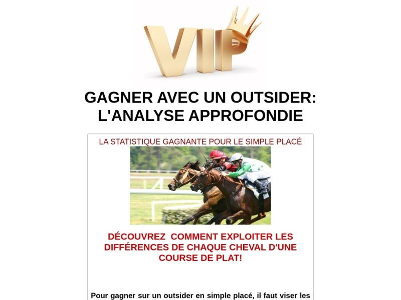 gagner avec un outsider: l'analyse approfondie
