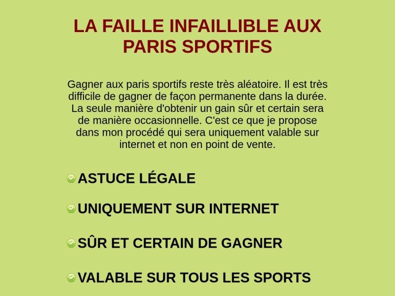 la faille infaillible aux paris sportifs