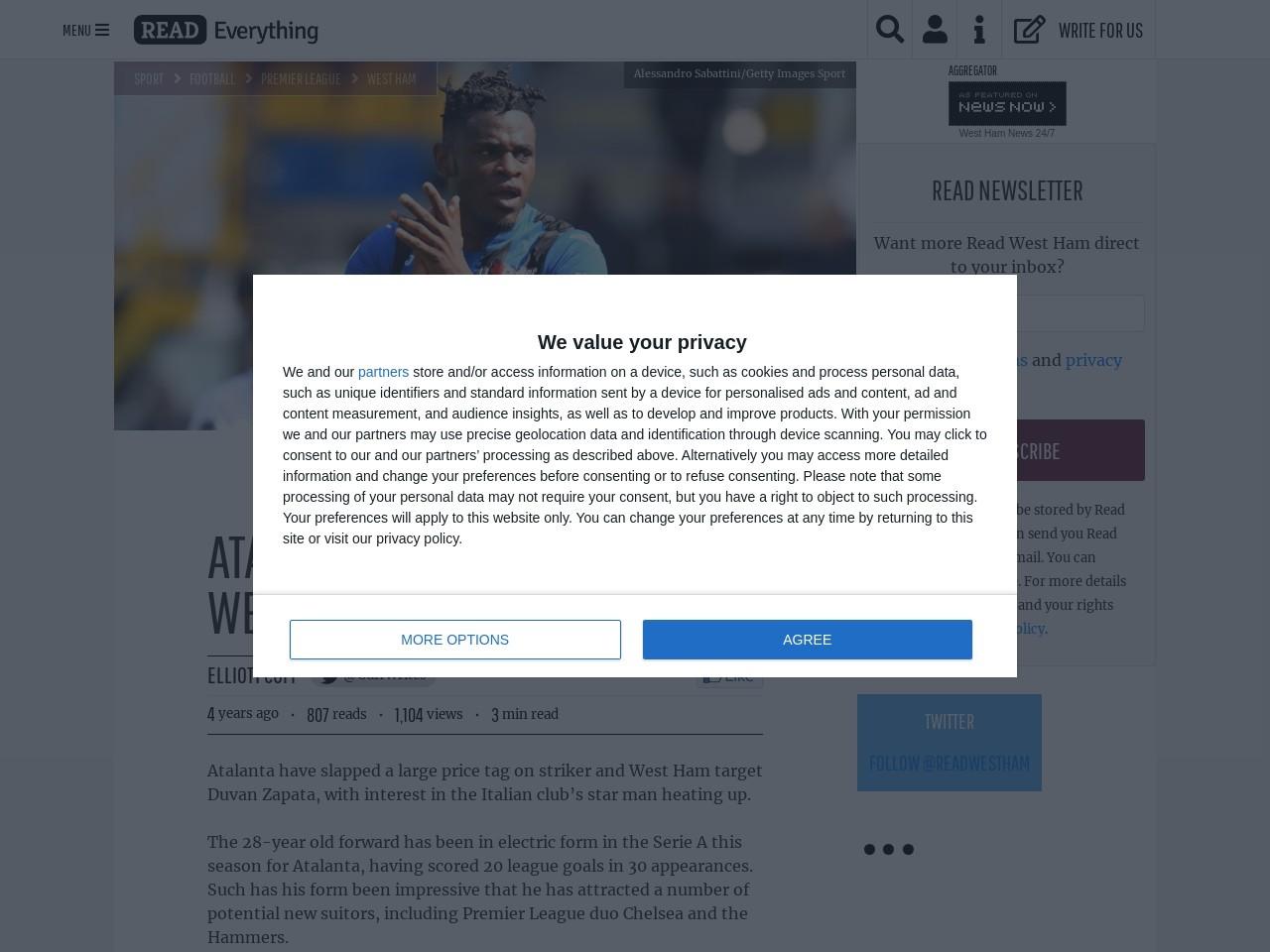Atalanta name price for West Ham target Zapata