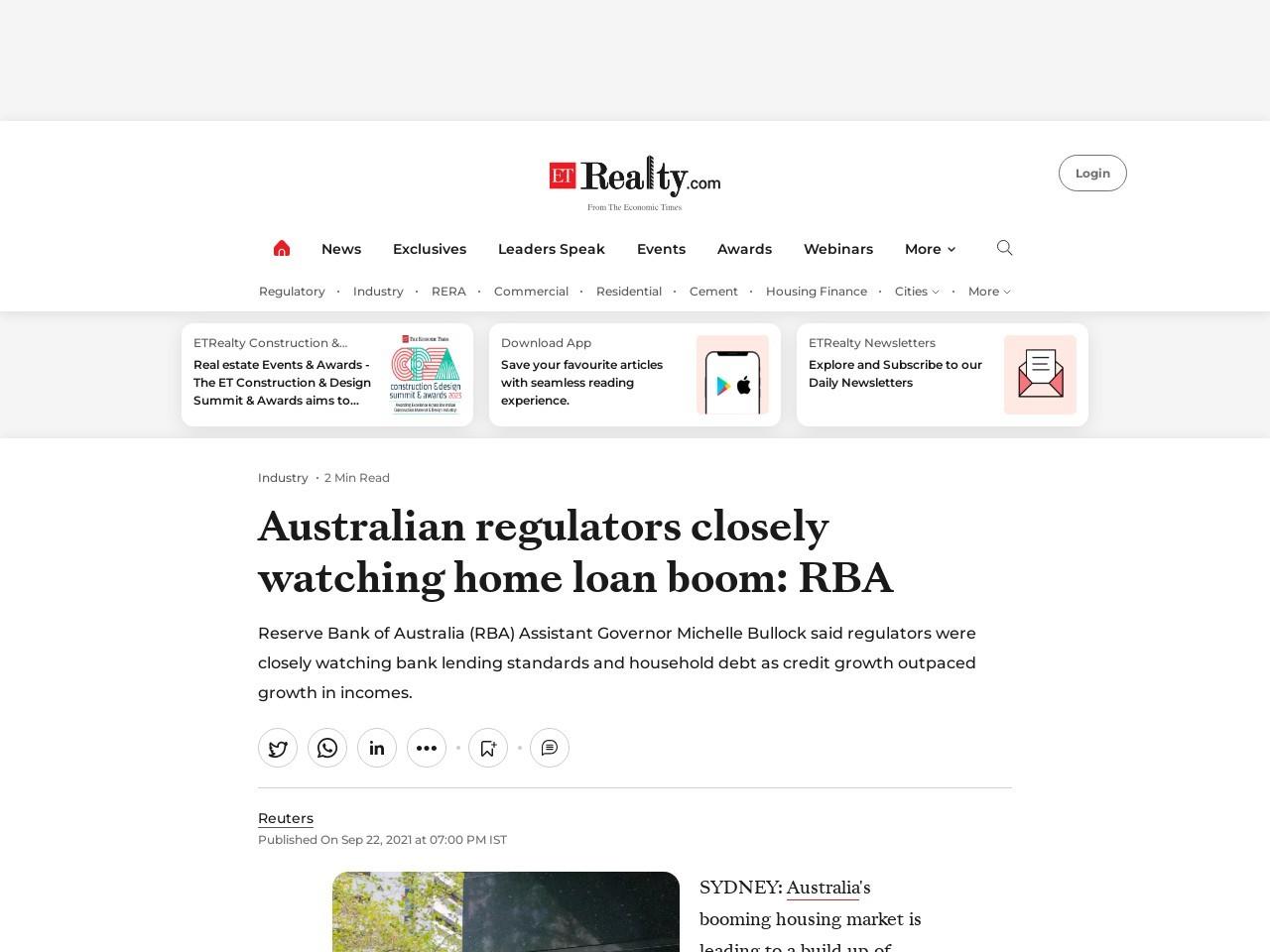 Australian regulators closely watching home loan boom: RBA – ETRealty.com