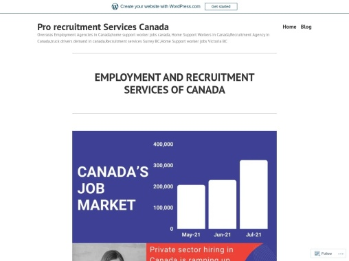EMPLOYMENT AND RECRUITMENT SERVICES OF CANADA