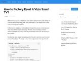 How to factory reset a vizio smart tv