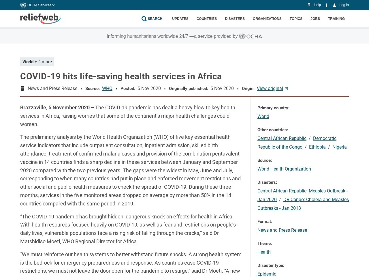 COVID-19 hits life-saving health services in Africa - World