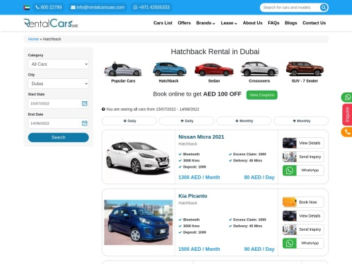 Rent a hatchback in Dubai/ Rental Cars UAE