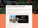 What does Condos for Rent in Dallas TX Mean?