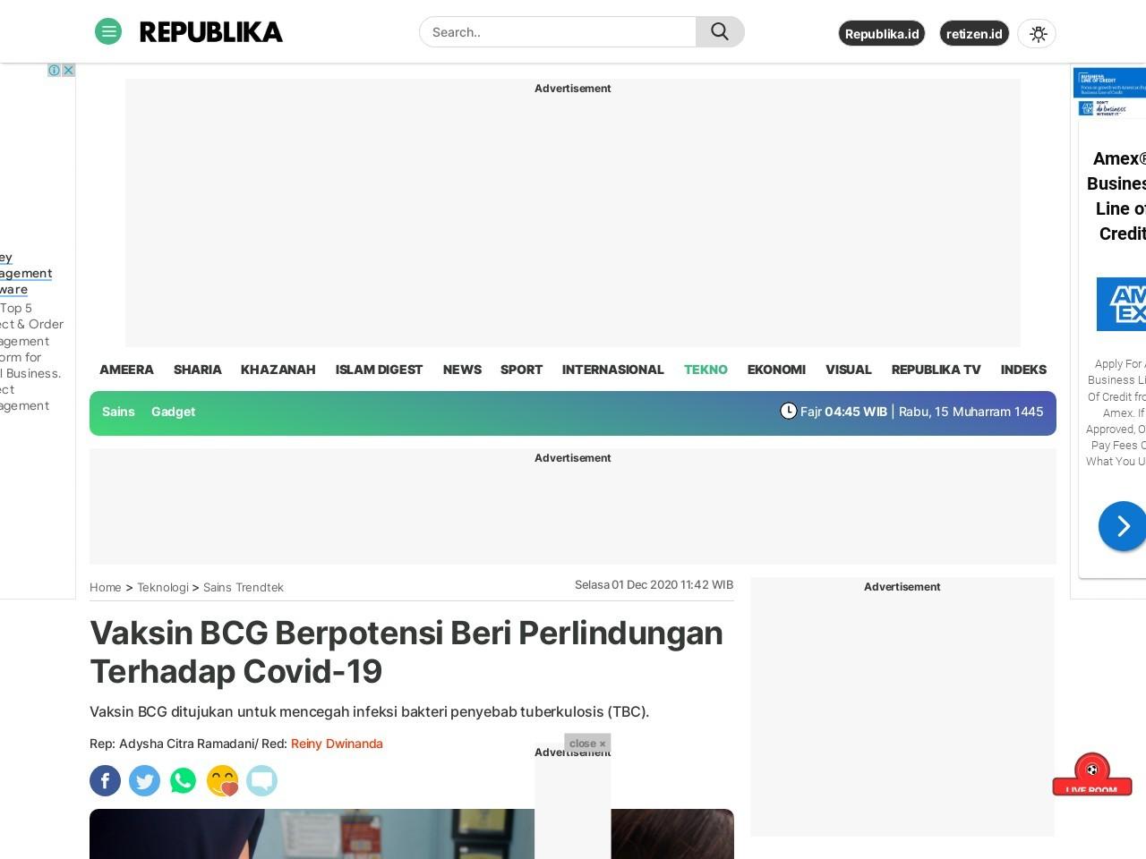 Vaksin BCG Berpotensi Beri Perlindungan Terhadap Covid-19  Republika Online