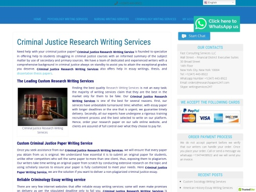 Criminal Justice Research Writing Services