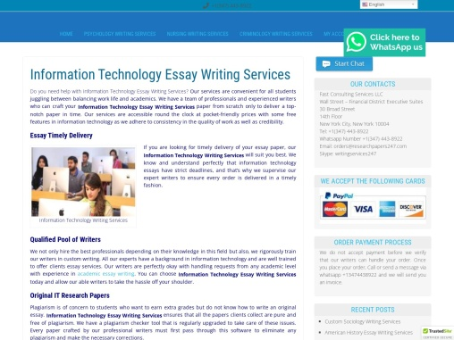 Information Technology Essay Writing Services