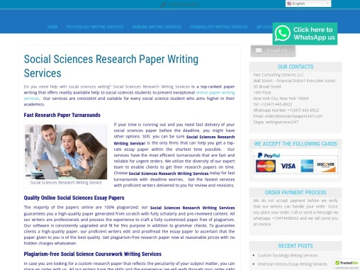 Social Sciences Research Paper Writing Services