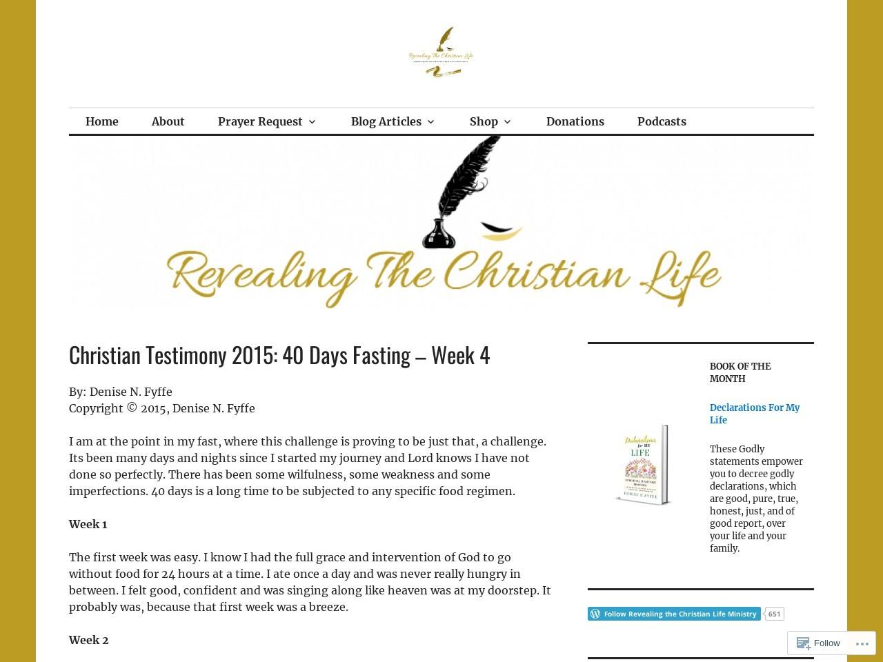 2015 Testimony #10 – 40 Days Fasting – Week 4 …