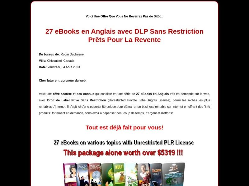 27 ebooks en anglais avec dlp sans restriction