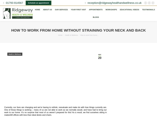 Avoid straining your neck and back when working from home – Ridgeway Health