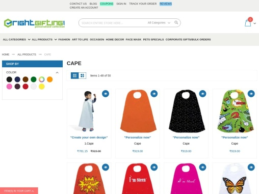 Order personalised Cape Online India|Best kids Customised Capes