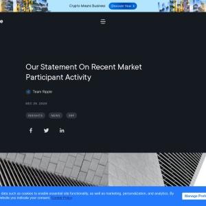Our Statement On Recent Market Participant Activity   Ripple