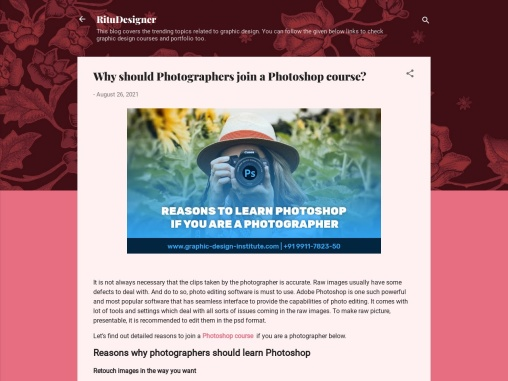 Why should photographer join a photoshop course
