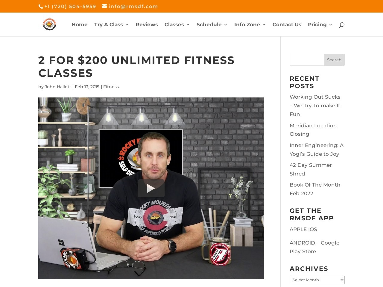 2 for $200 Unlimited Fitness Classes