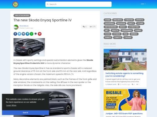 The new Skoda Enyaq Sportline iV electric SUV
