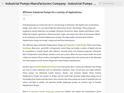 Efficient Industrial Pumps for a variety of Applications
