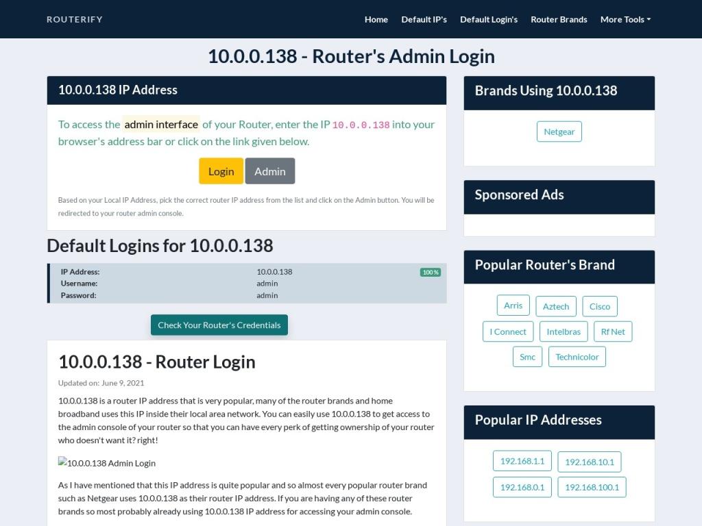 10.0.0.138 Admin Login