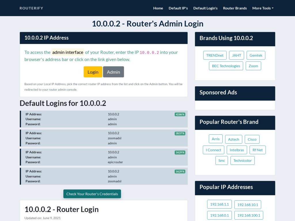 10.0.0.2 Admin Login