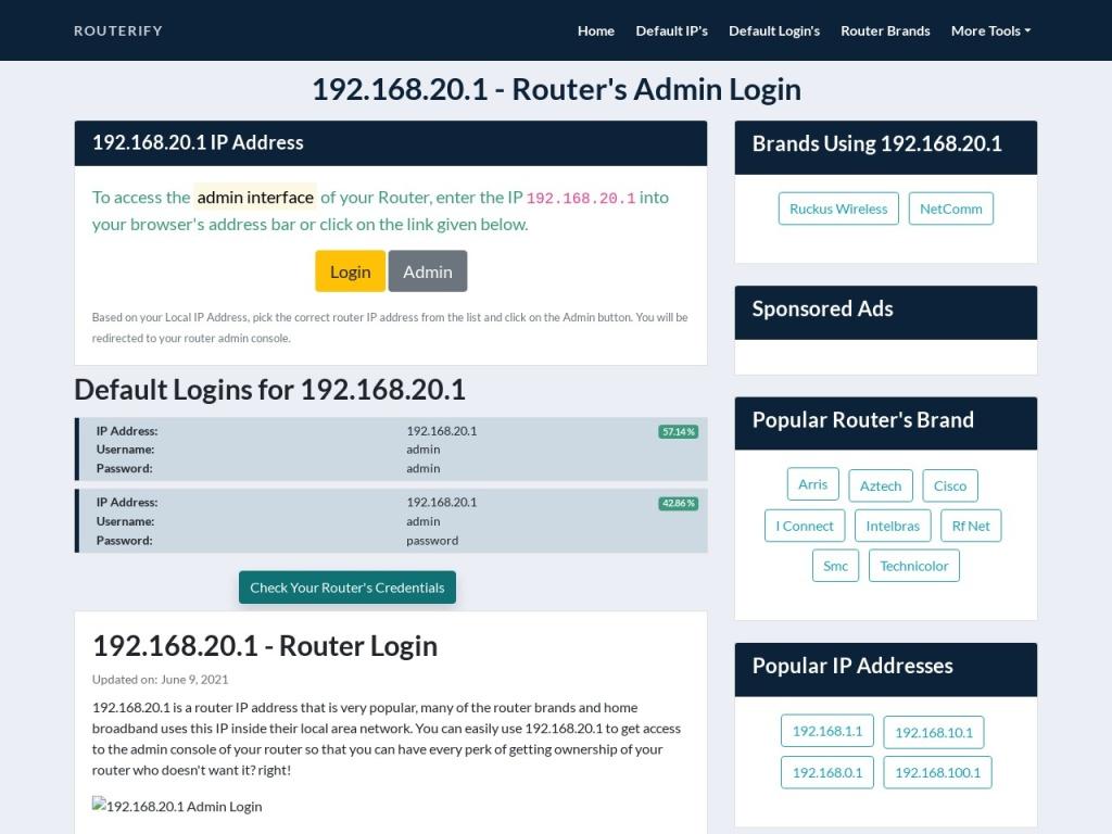 192.168.20.1 Admin Login