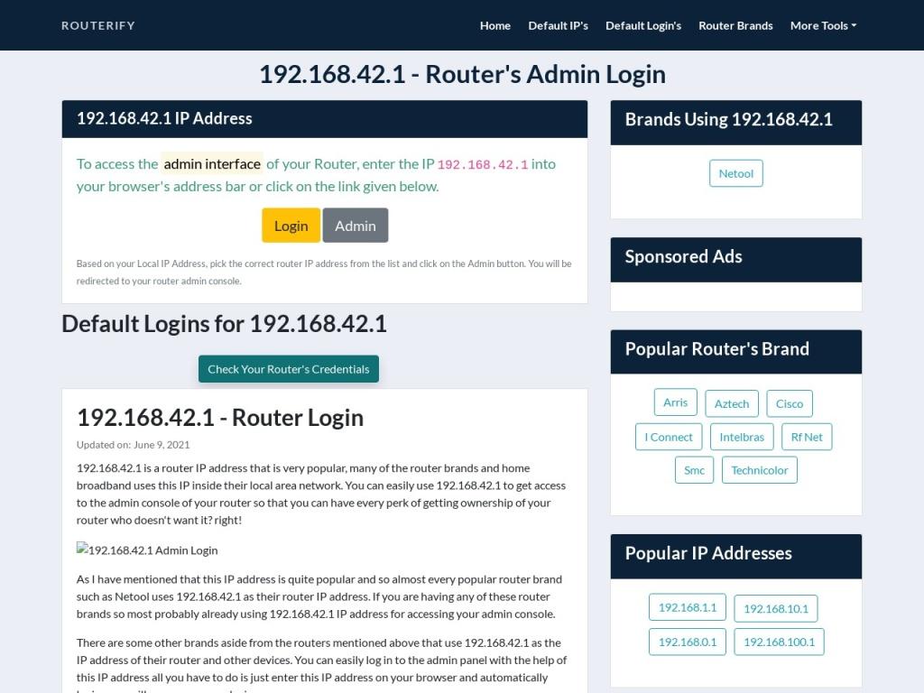 192.168.42.1 Admin Login