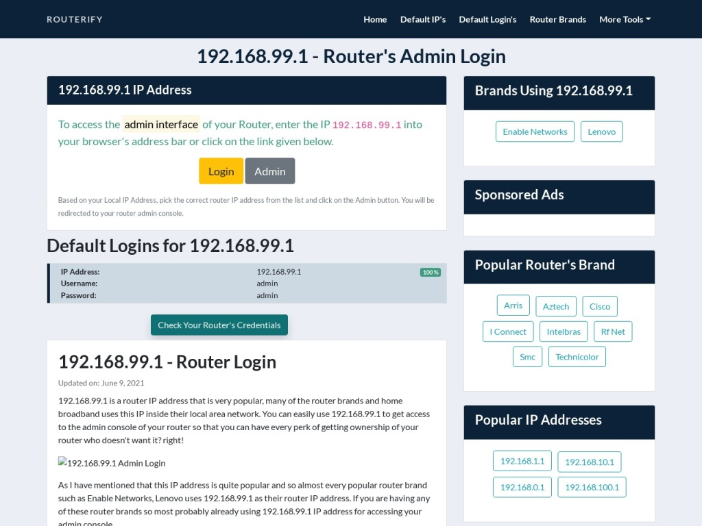192.168.99.1 Admin Login