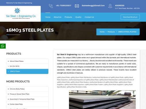 15MO3 Steel Plate Stockist in India