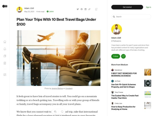 Plan Your Trips With 10 Best Travel Bags Under $100