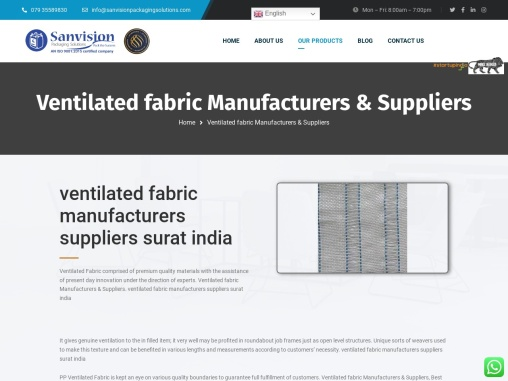 ventilated fabric manufacturers suppliers surat india