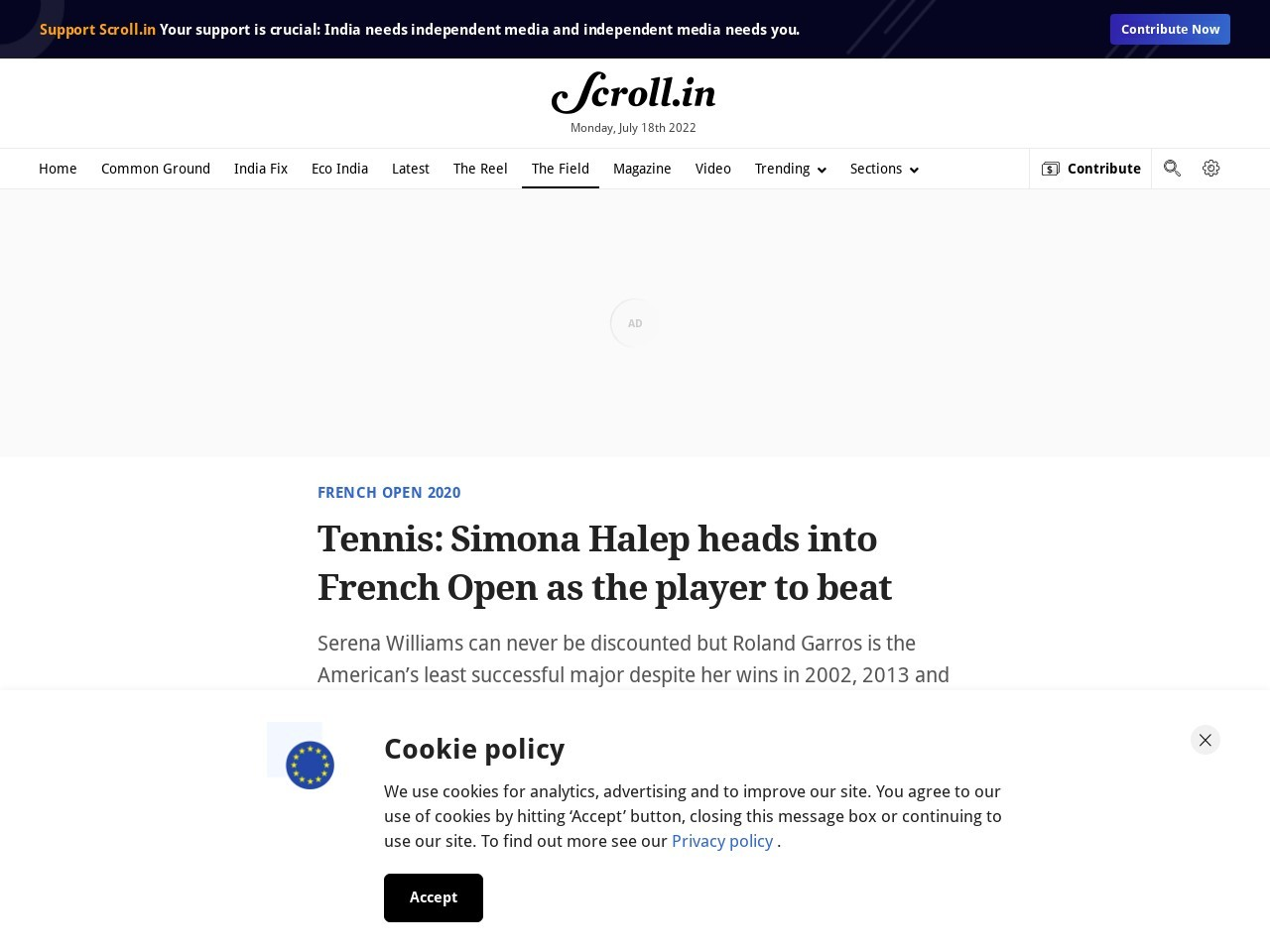Tennis: Simona Halep heads into French Open as the player to beat