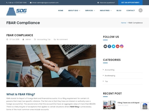 Foreign Bank Account Reporting (FBAR) Compliance