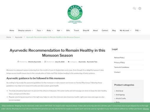 Ayurvedic Recommendation to Remain Healthy in this Monsoon Season