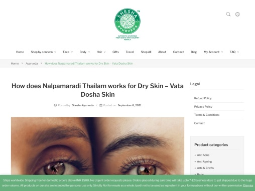 How does Nalpamaradi Thailam works for Dry Skin – Vata Dosha Skin