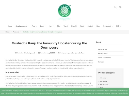 Oushadha Kanji, the Immunity Booster during the Downpours