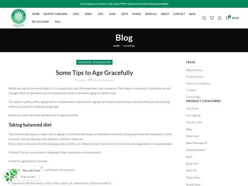 Some Tips to Age Gracefully – Shesha Ayurveda