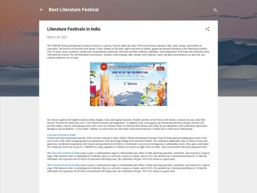 Literature Festivals in India – Shimla International Literature Festival