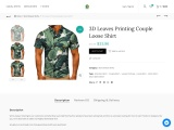 3D Leaves Printing Couple Loose Shirt
