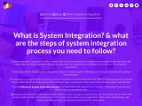 What are the steps of System Integration Process you need to follow?