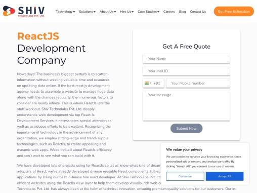 Hire React-js Developers- Shiv Technolabs
