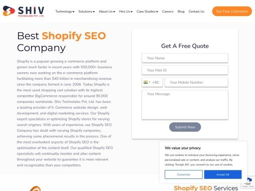 Shopify SEO Company USA- Shiv Technolabs