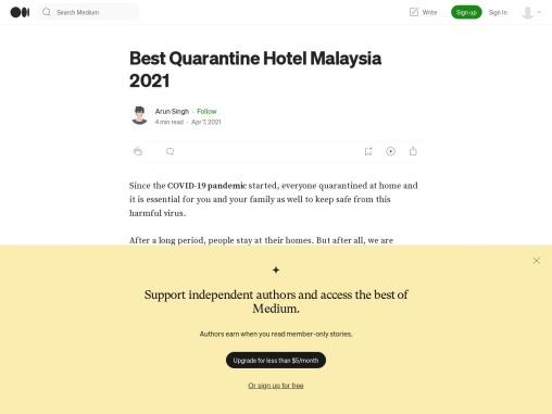 Best Quarantine Hotel Malaysia 2021